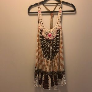 Free People tunic with macrame knotted straps